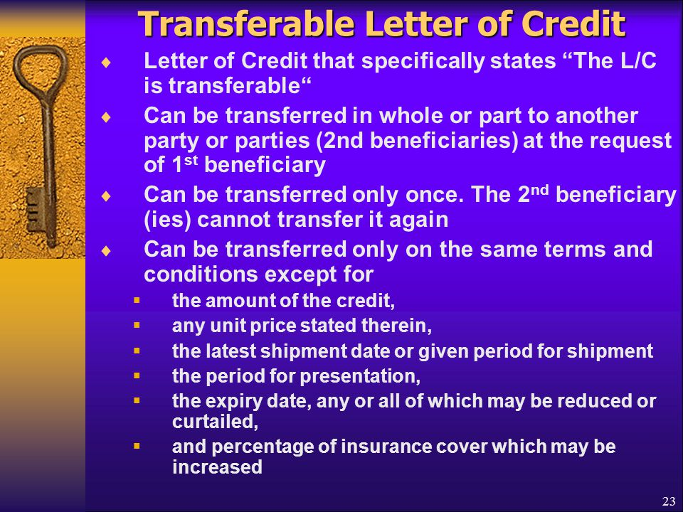Transferable Letter of Credit