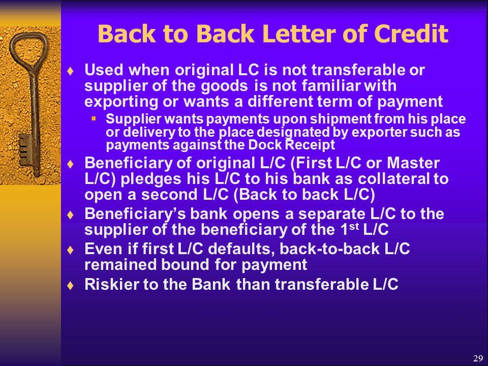 Back to Back Letter of Credit