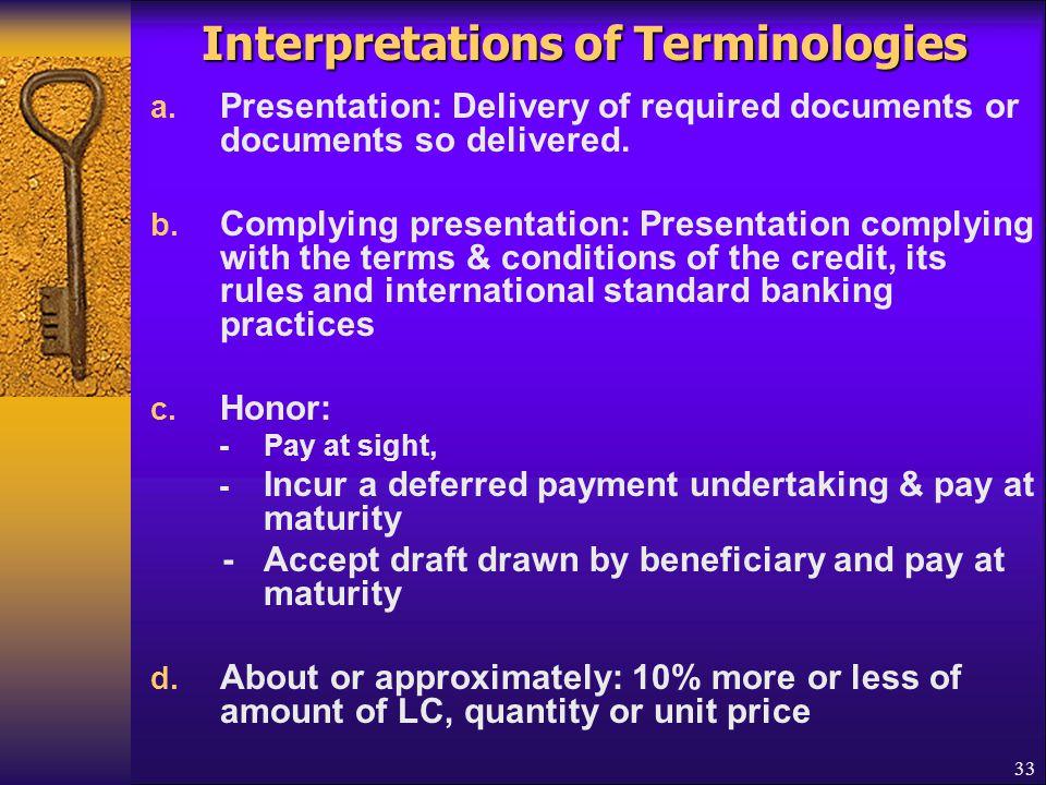 Interpretations of Terminologies
