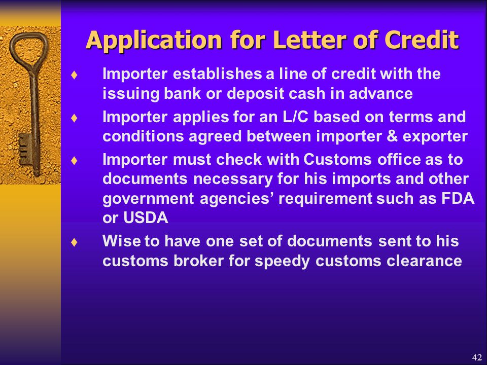 Application for Letter of Credit