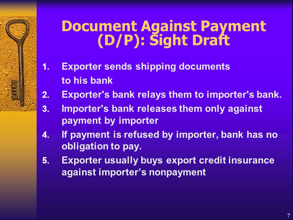 Document Against Payment (D/P): Sight Draft