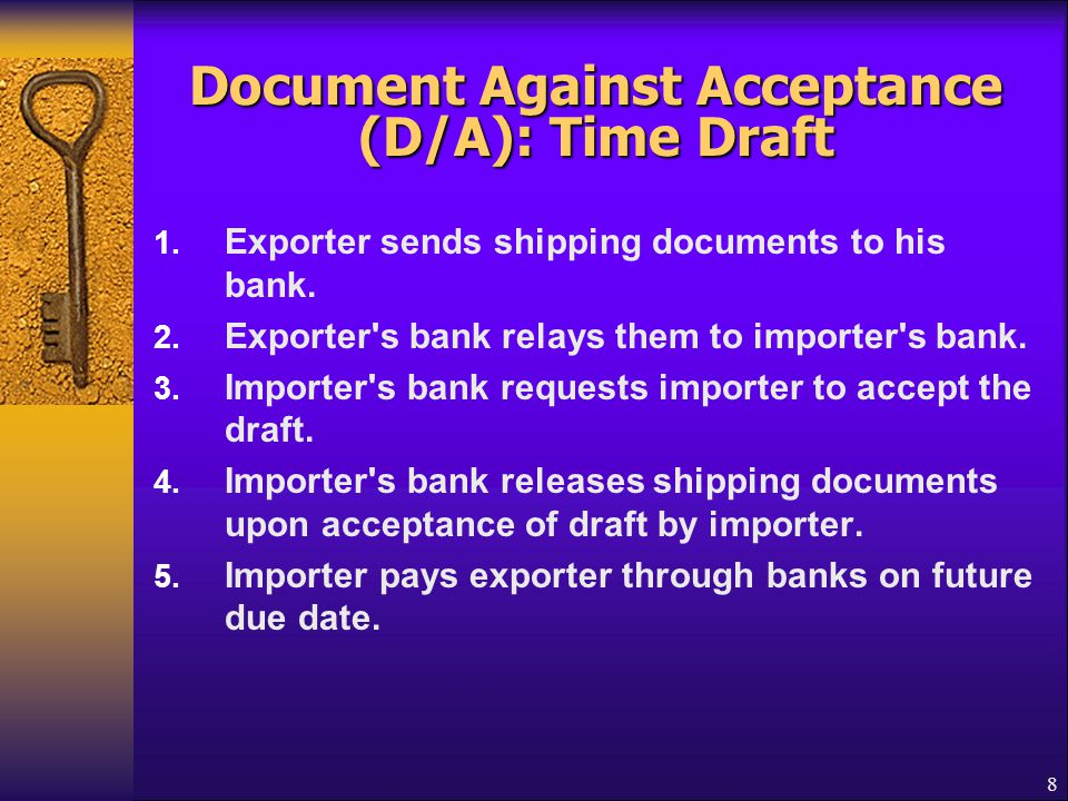 Document Against Acceptance (D/A): Time Draft
