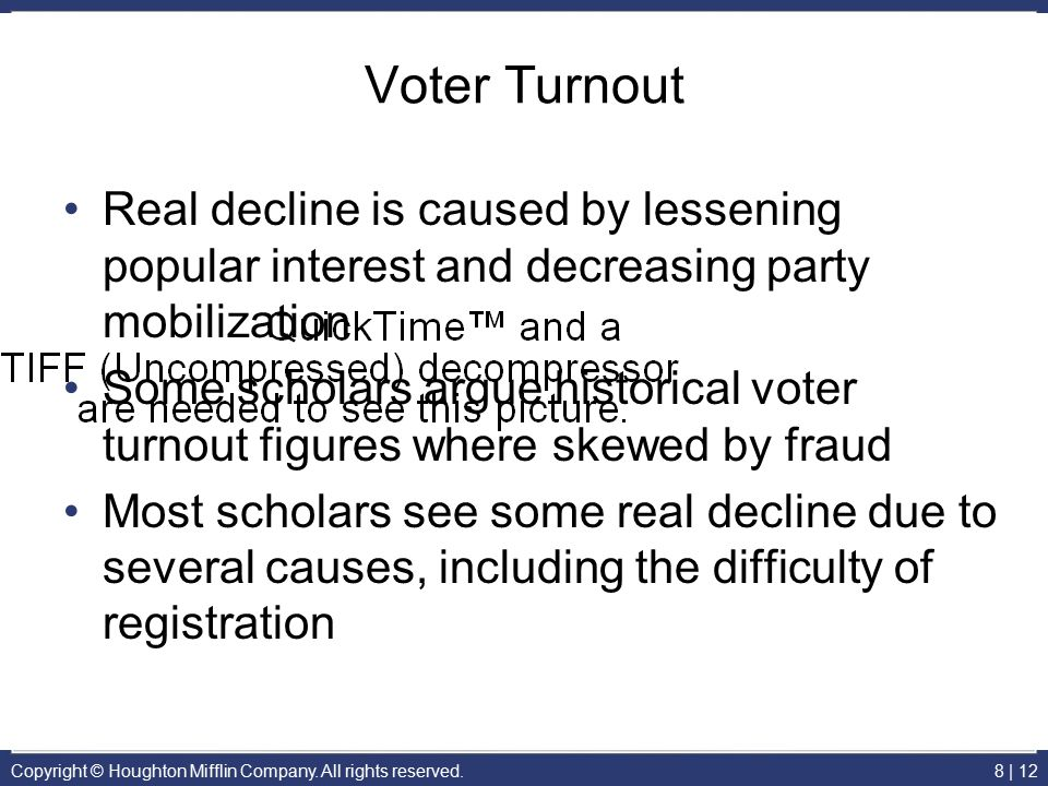 Voter Turnout Real decline is caused by lessening popular interest and decreasing party mobilization.