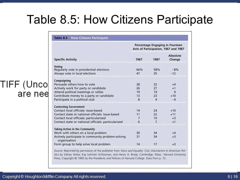 Table 8.5: How Citizens Participate
