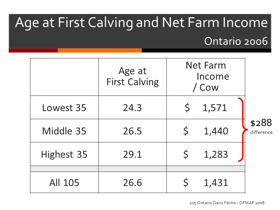 Age at First Calving and Net Farm Income Ontario 2006