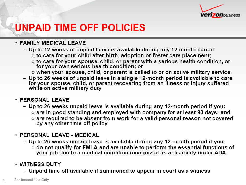UNPAID TIME OFF POLICIES