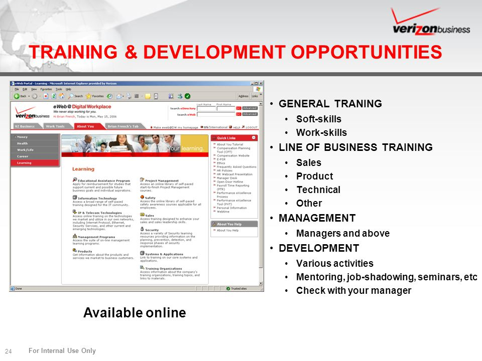 TRAINING & DEVELOPMENT OPPORTUNITIES