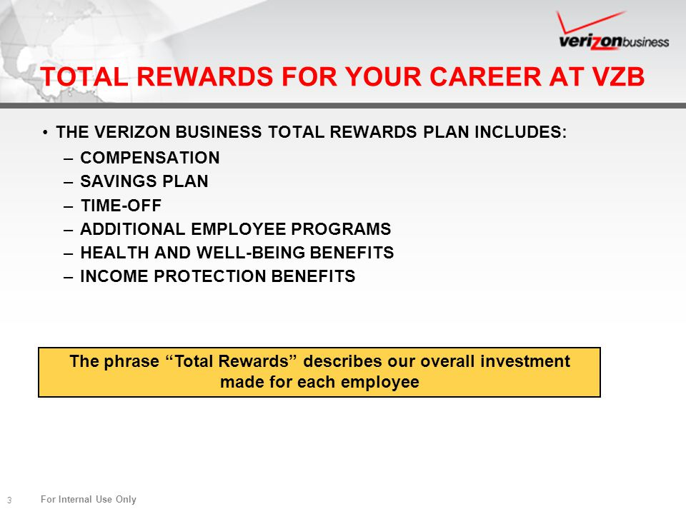 TOTAL REWARDS FOR YOUR CAREER AT VZB