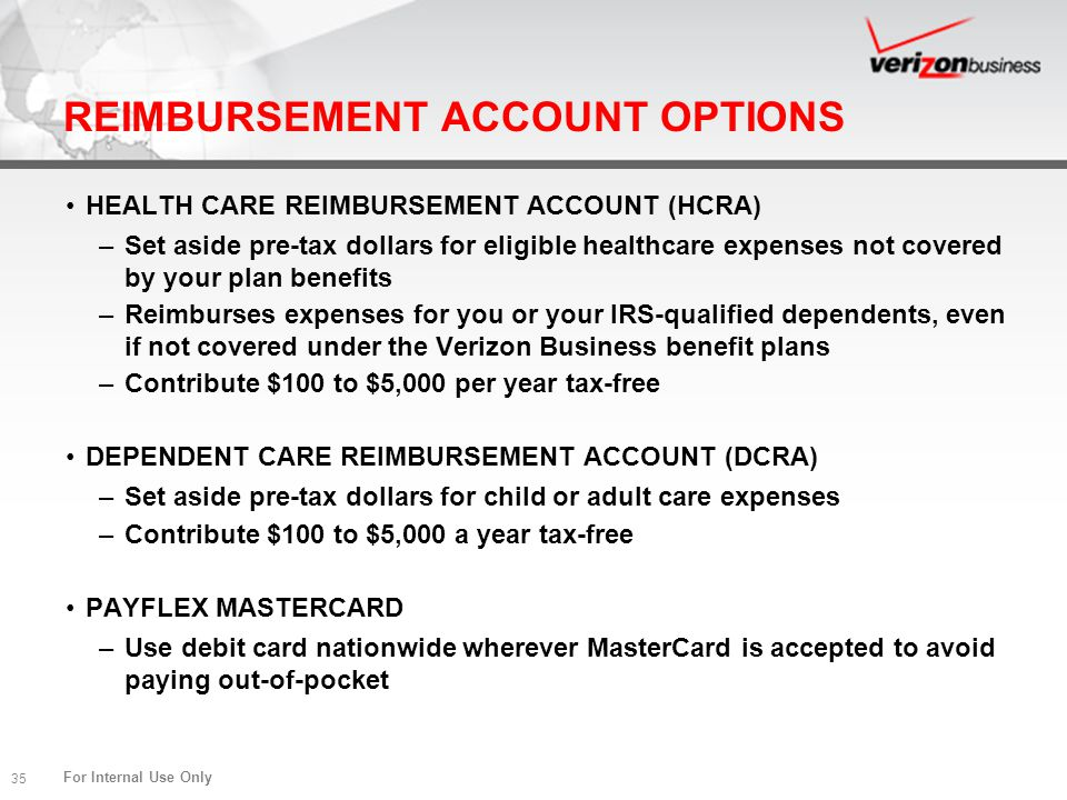 REIMBURSEMENT ACCOUNT OPTIONS