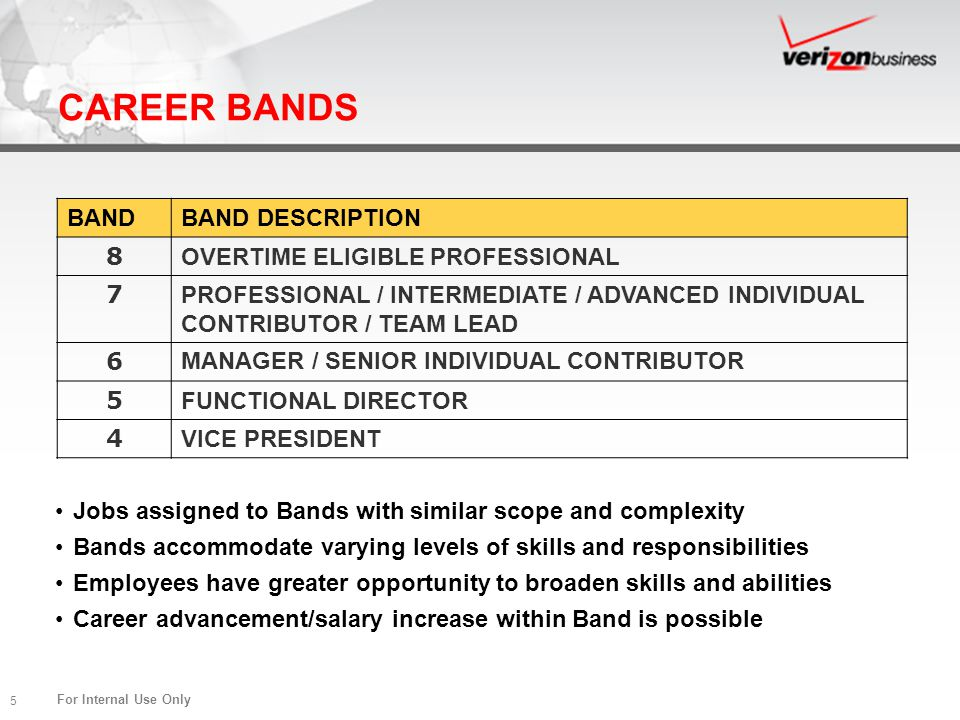 CAREER BANDS BAND BAND DESCRIPTION 8 OVERTIME ELIGIBLE PROFESSIONAL 7