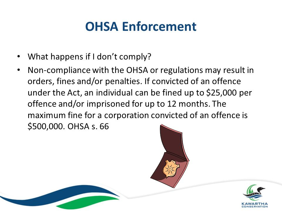 OHSA Enforcement What happens if I don't comply