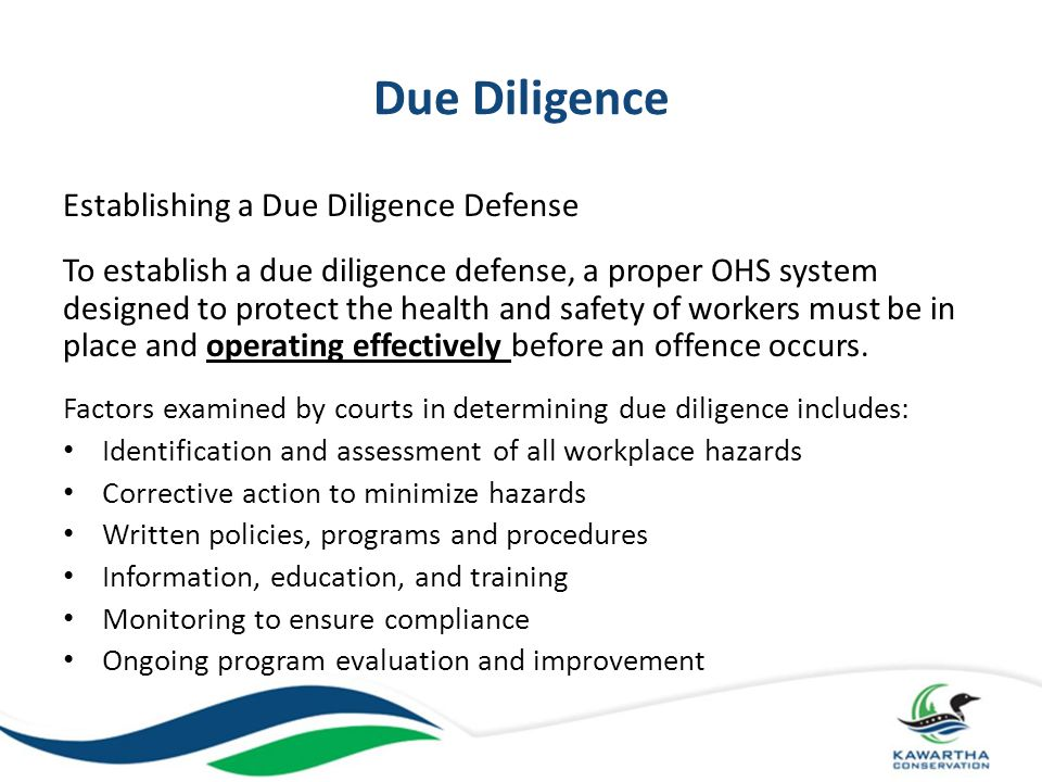 Due Diligence Establishing a Due Diligence Defense