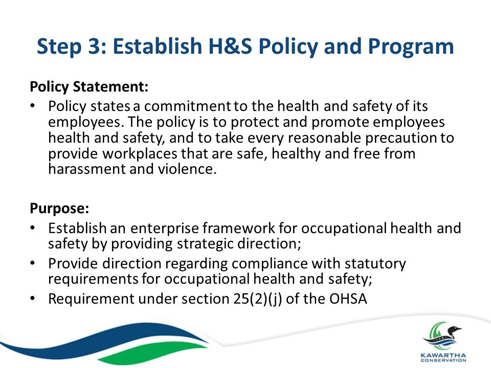 Step 3: Establish H&S Policy and Program