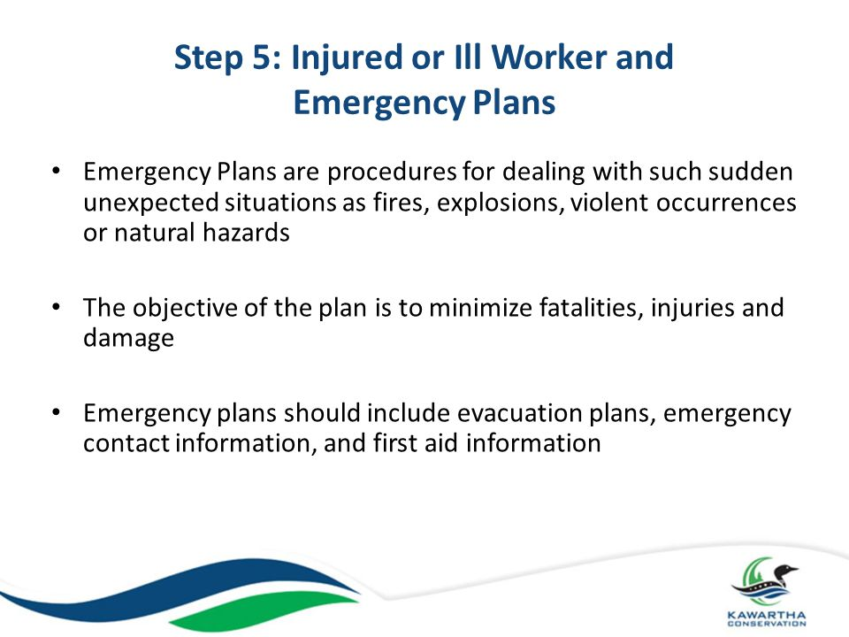 Step 5: Injured or Ill Worker and Emergency Plans