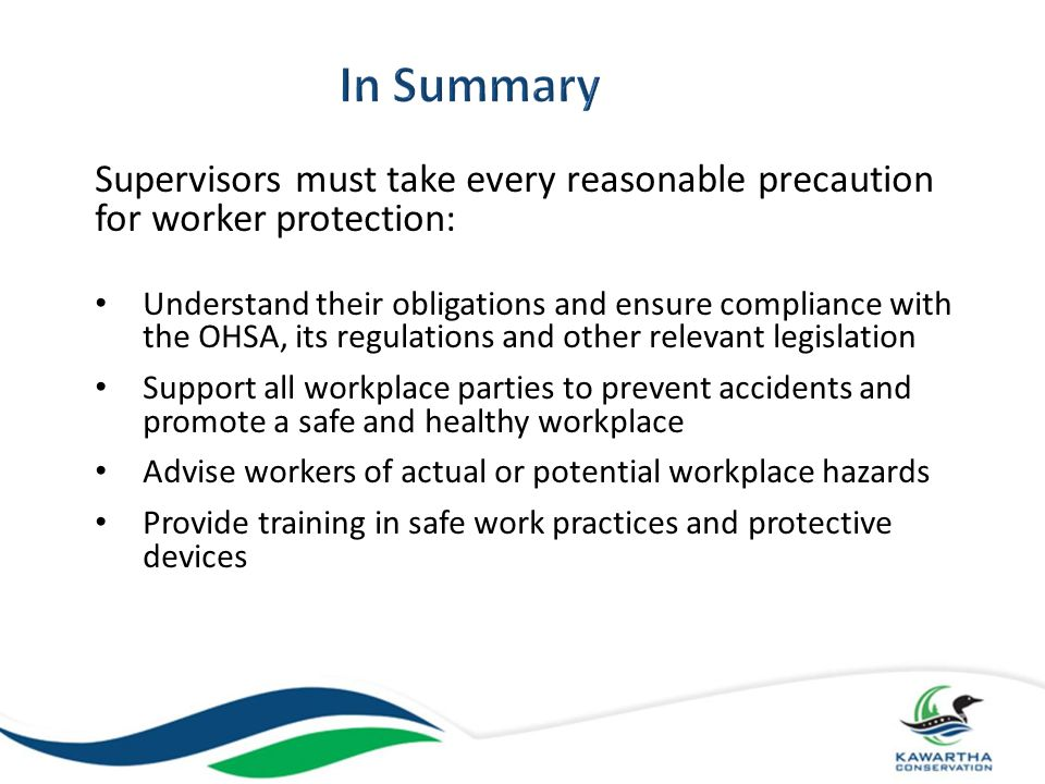 In Summary Supervisors must take every reasonable precaution for worker protection: