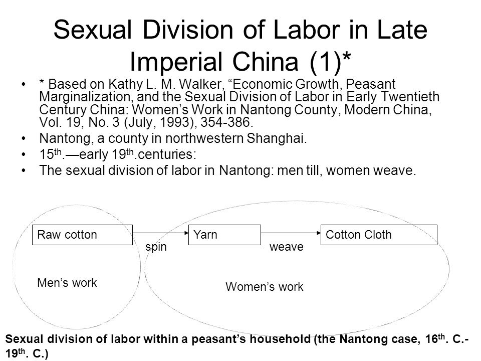 Sexual Division of Labor in Late Imperial China (1)*