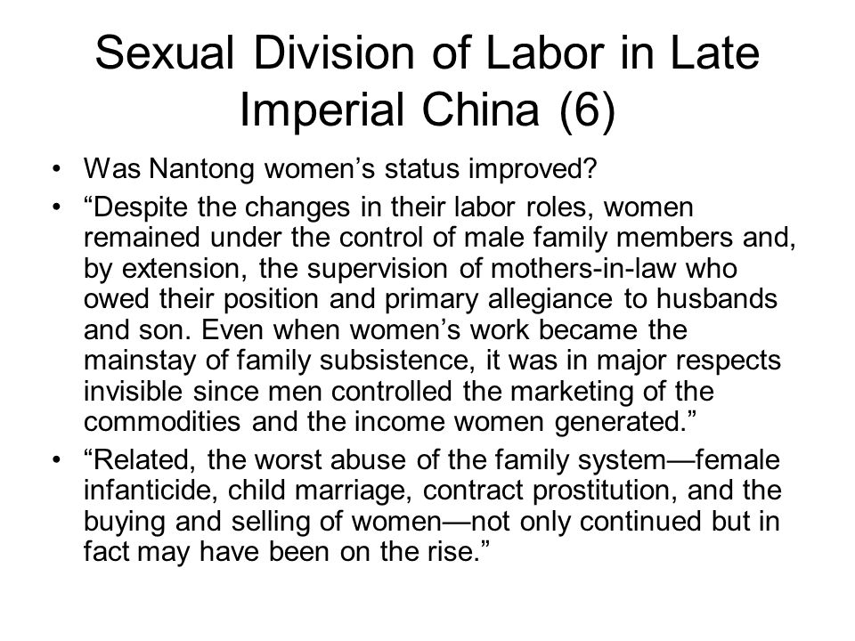 Sexual Division of Labor in Late Imperial China (6)