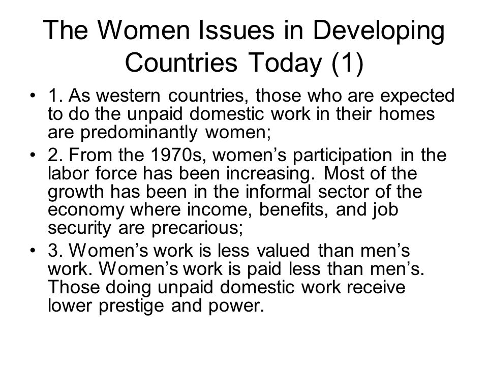 The Women Issues in Developing Countries Today (1)