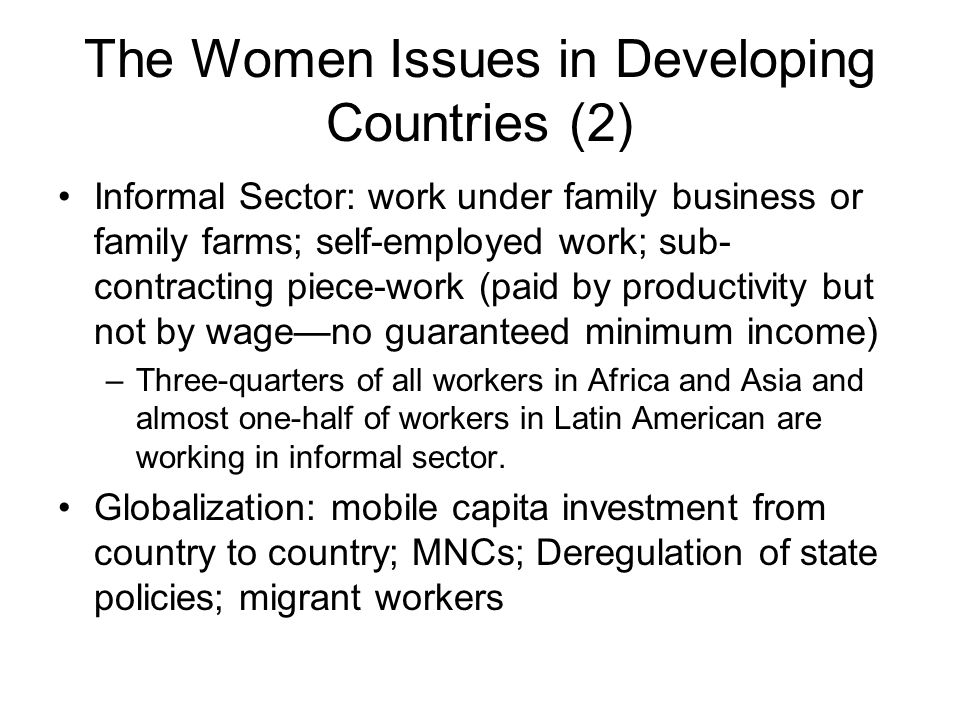 The Women Issues in Developing Countries (2)