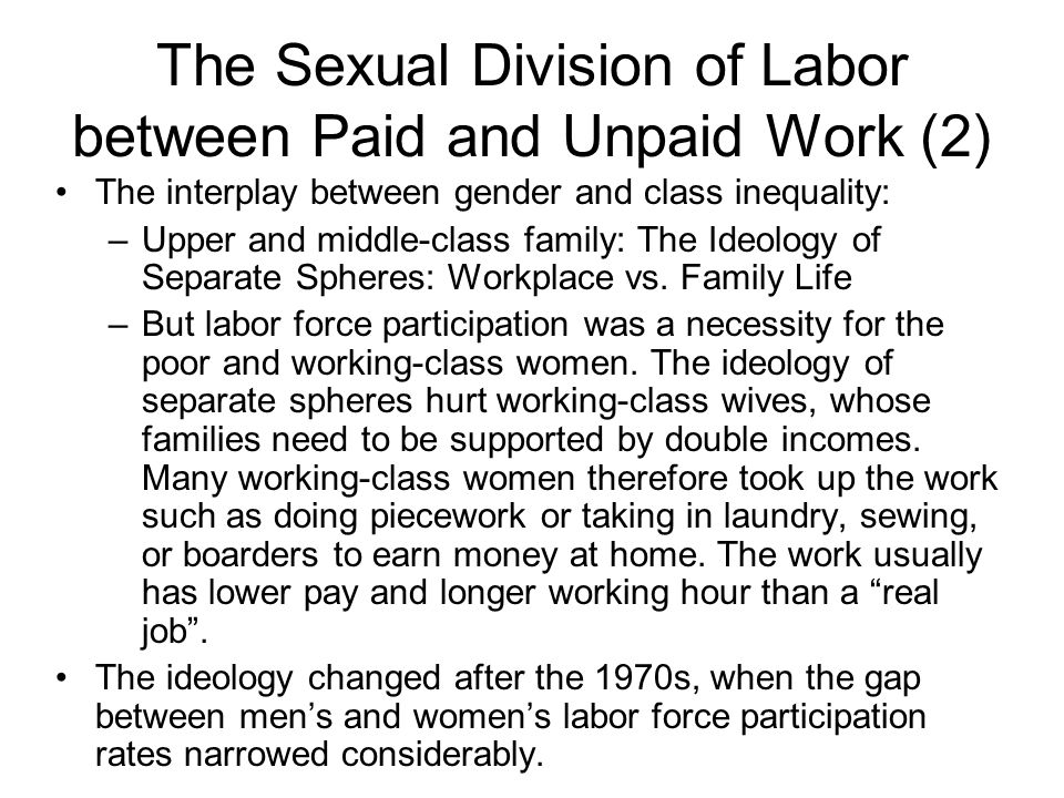 The Sexual Division of Labor between Paid and Unpaid Work (2)