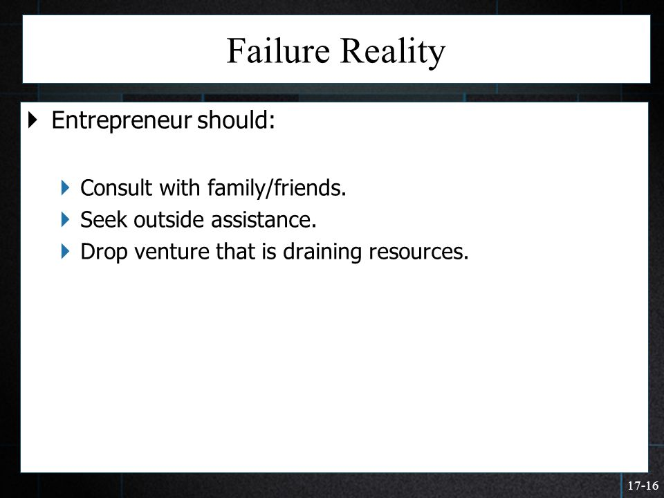 Failure Reality Entrepreneur should: Consult with family/friends.