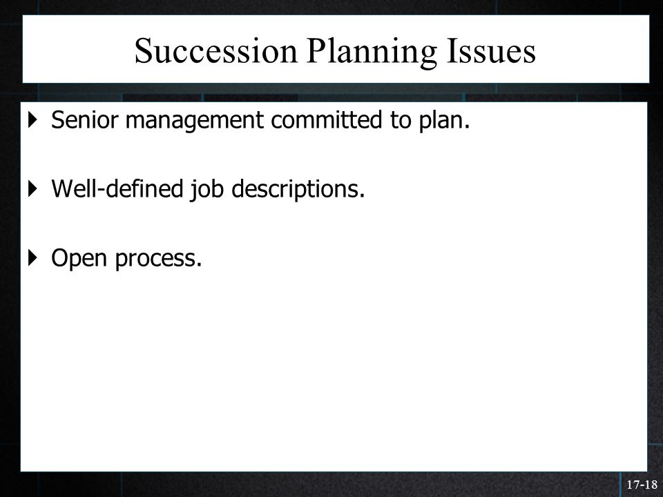 Succession Planning Issues
