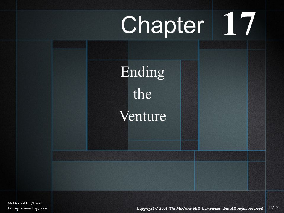 17 Chapter Ending the Venture McGraw-Hill/Irwin Entrepreneurship, 7/e