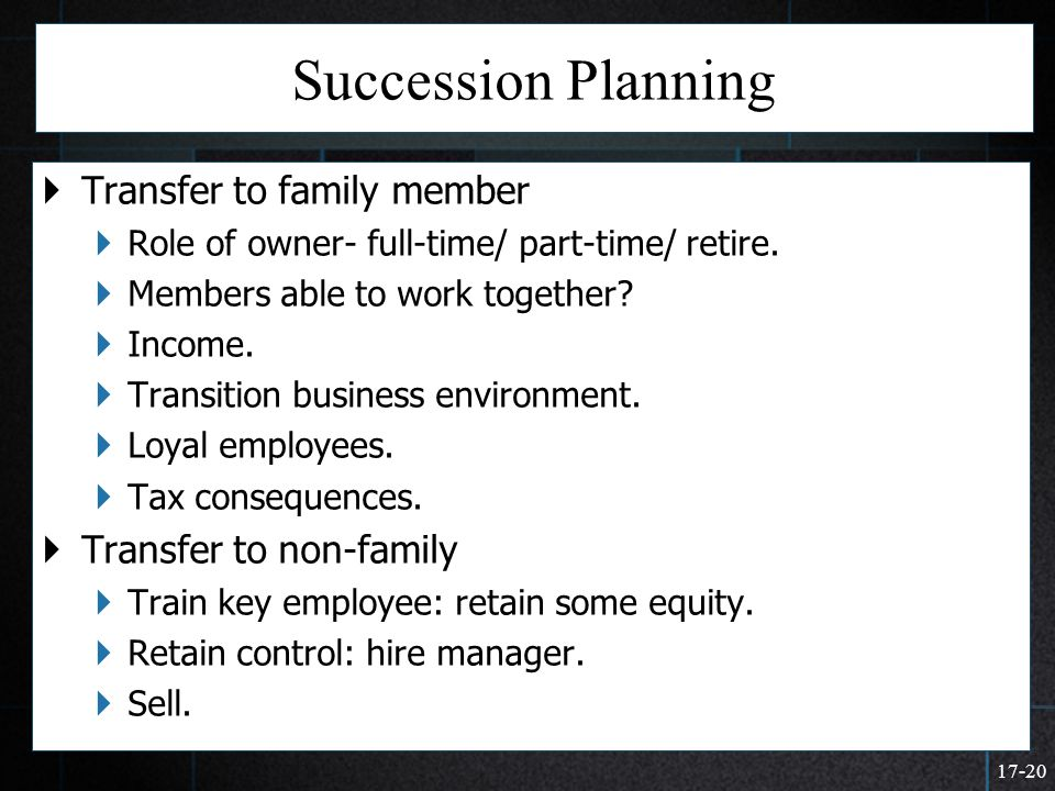 Succession Planning Transfer to family member Transfer to non-family