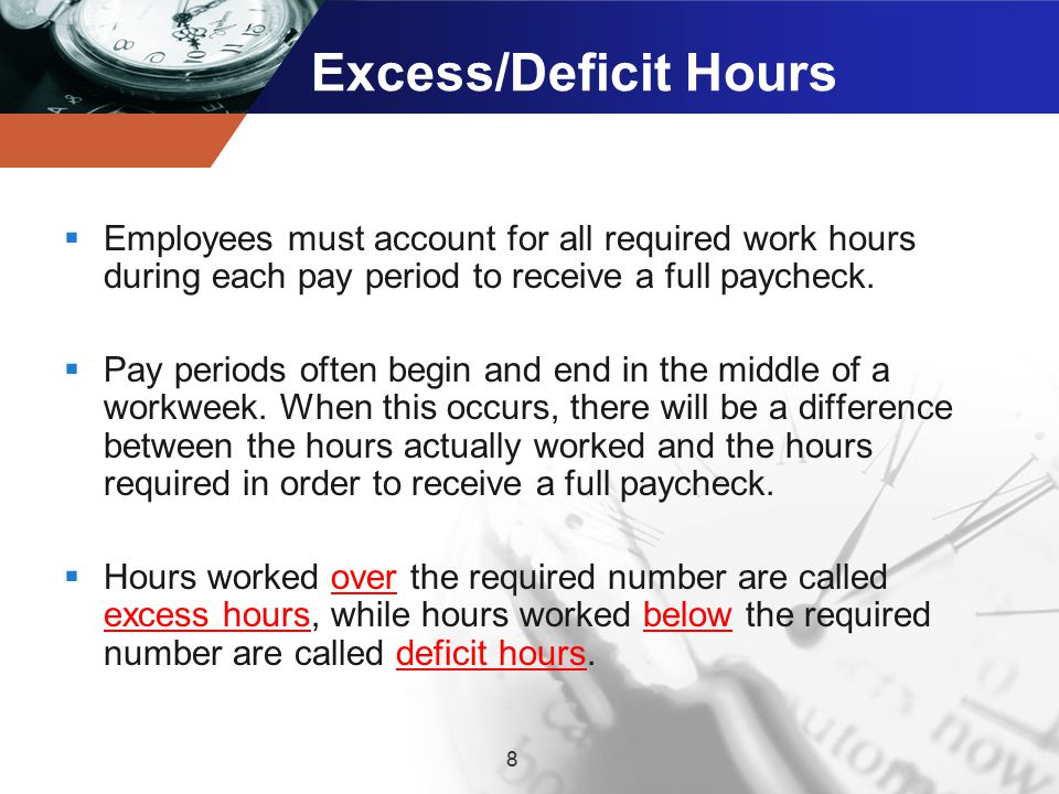 Excess/Deficit Hours Employees must account for all required work hours during each pay period to receive a full paycheck.