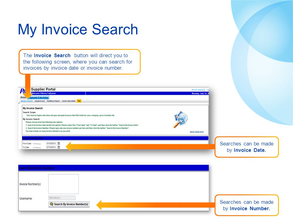 My Invoice Search Search by invoice number
