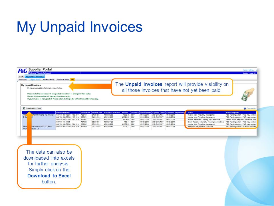 My Unpaid Invoices The Unpaid Invoices report will provide visibility on all those invoices that have not yet been paid.