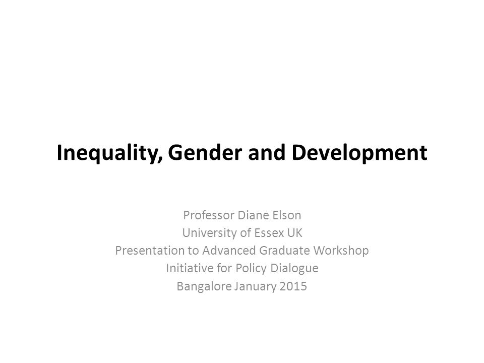 Inequality, Gender and Development