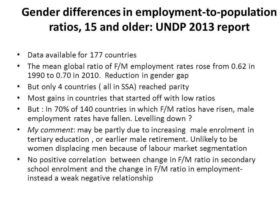Gender differences in employment-to-population ratios, 15 and older: UNDP 2013 report