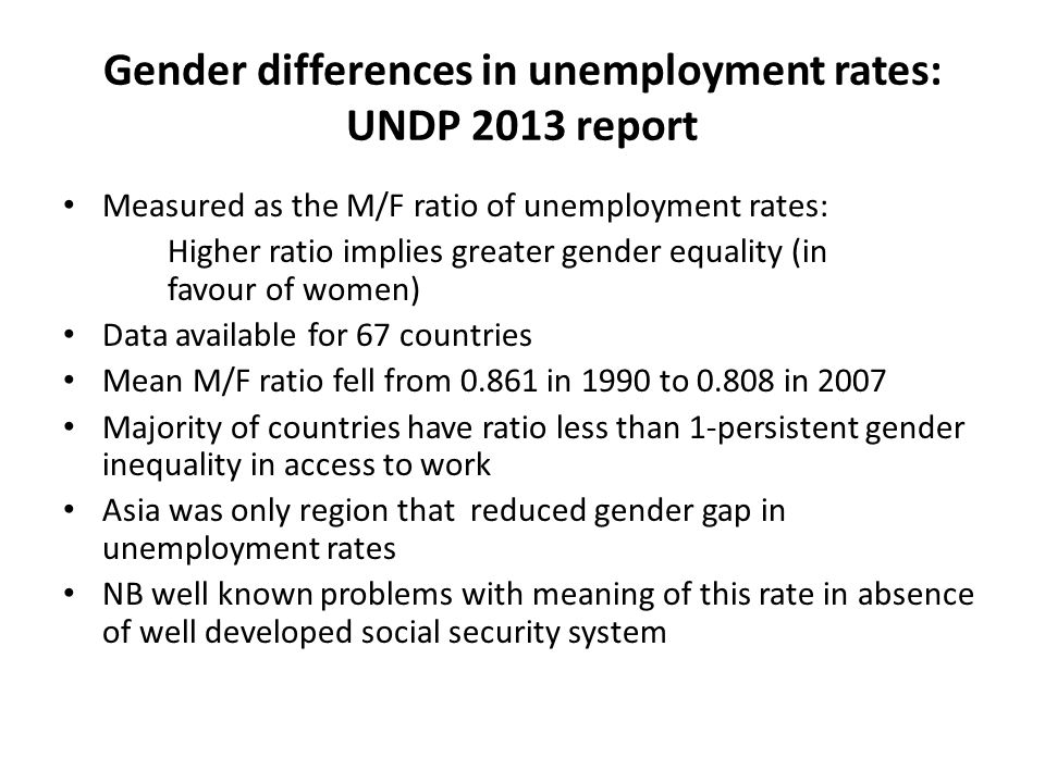 Gender differences in unemployment rates: UNDP 2013 report