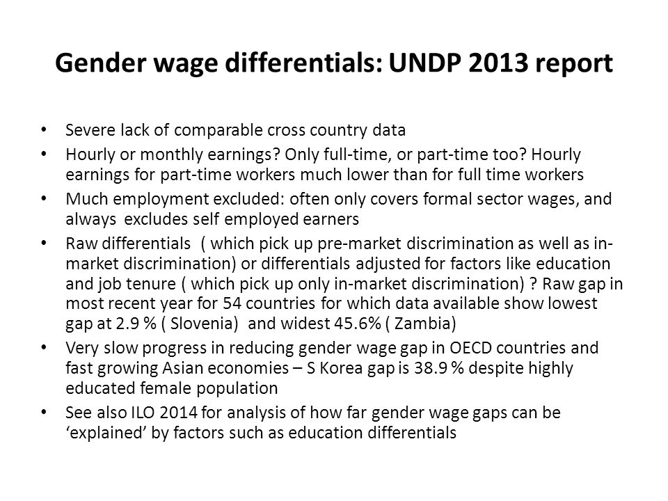 Gender wage differentials: UNDP 2013 report