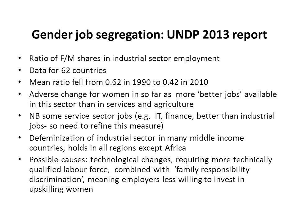 Gender job segregation: UNDP 2013 report