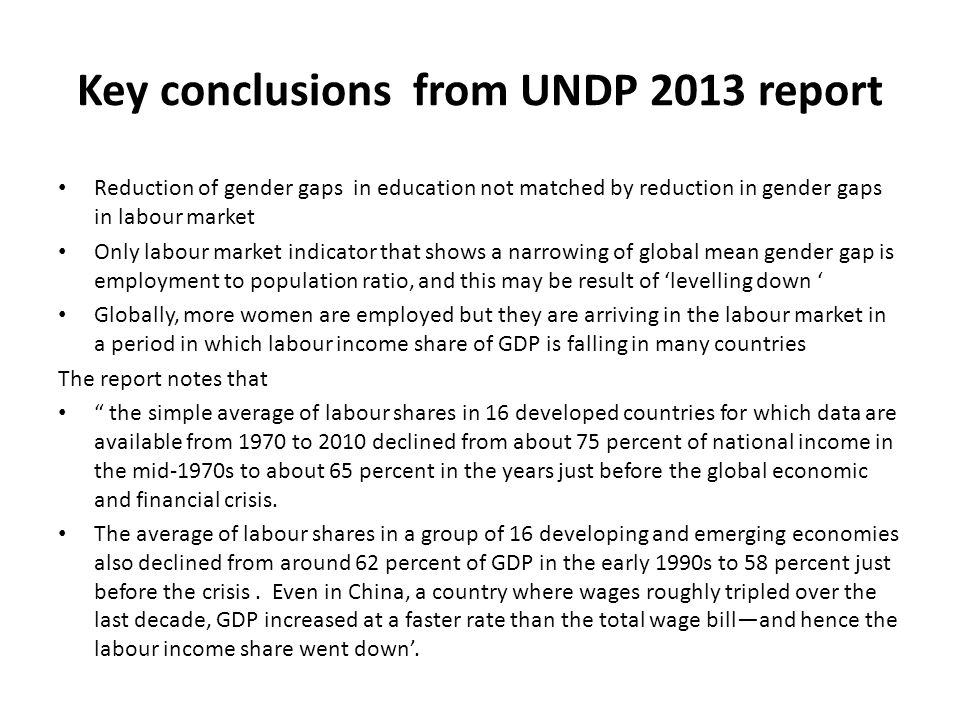 Key conclusions from UNDP 2013 report