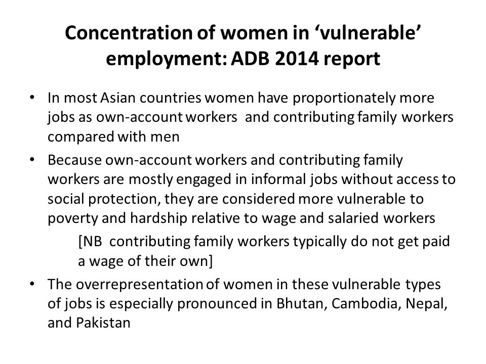Concentration of women in 'vulnerable' employment: ADB 2014 report