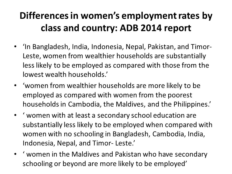Differences in women's employment rates by class and country: ADB 2014 report