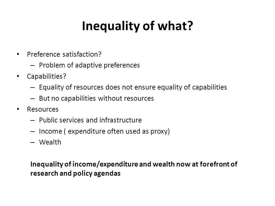 Inequality of what Preference satisfaction