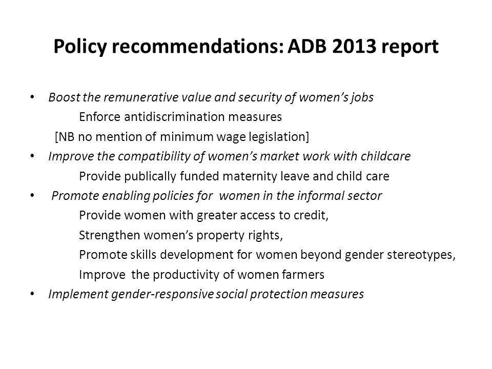 Policy recommendations: ADB 2013 report