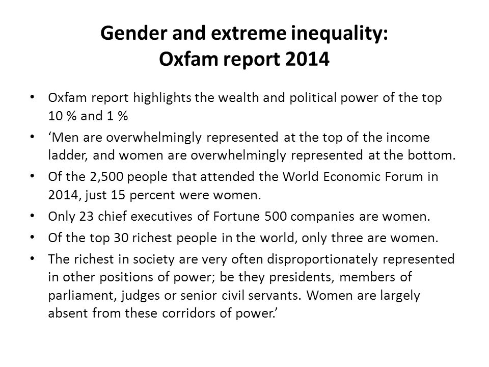 Gender and extreme inequality: Oxfam report 2014