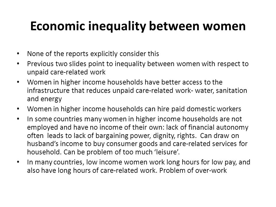 Economic inequality between women
