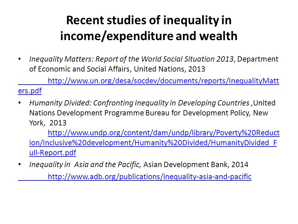 Recent studies of inequality in income/expenditure and wealth