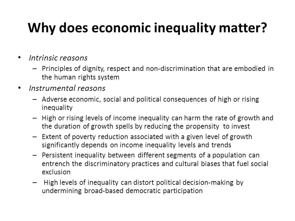 Why does economic inequality matter