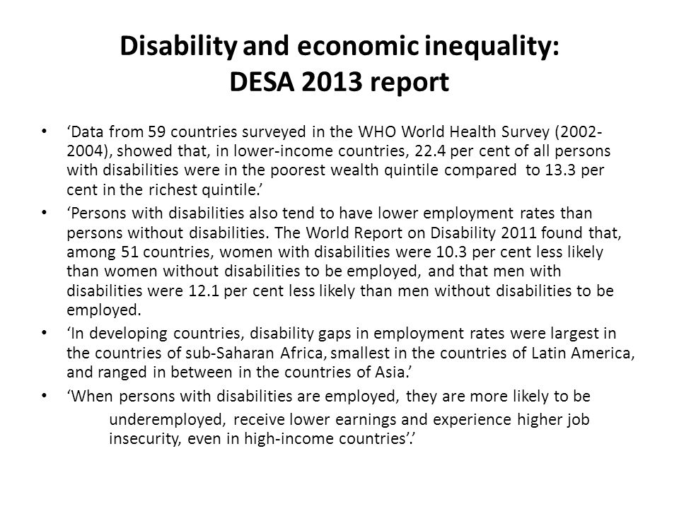 Disability and economic inequality: DESA 2013 report