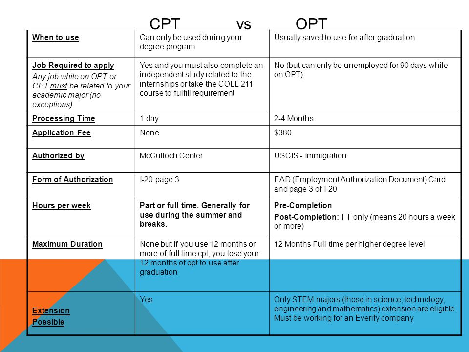 CPT vs OPT When to use Can only be used during your degree program