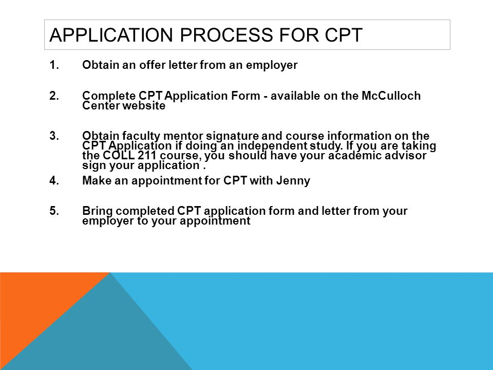 Application Process for CPT