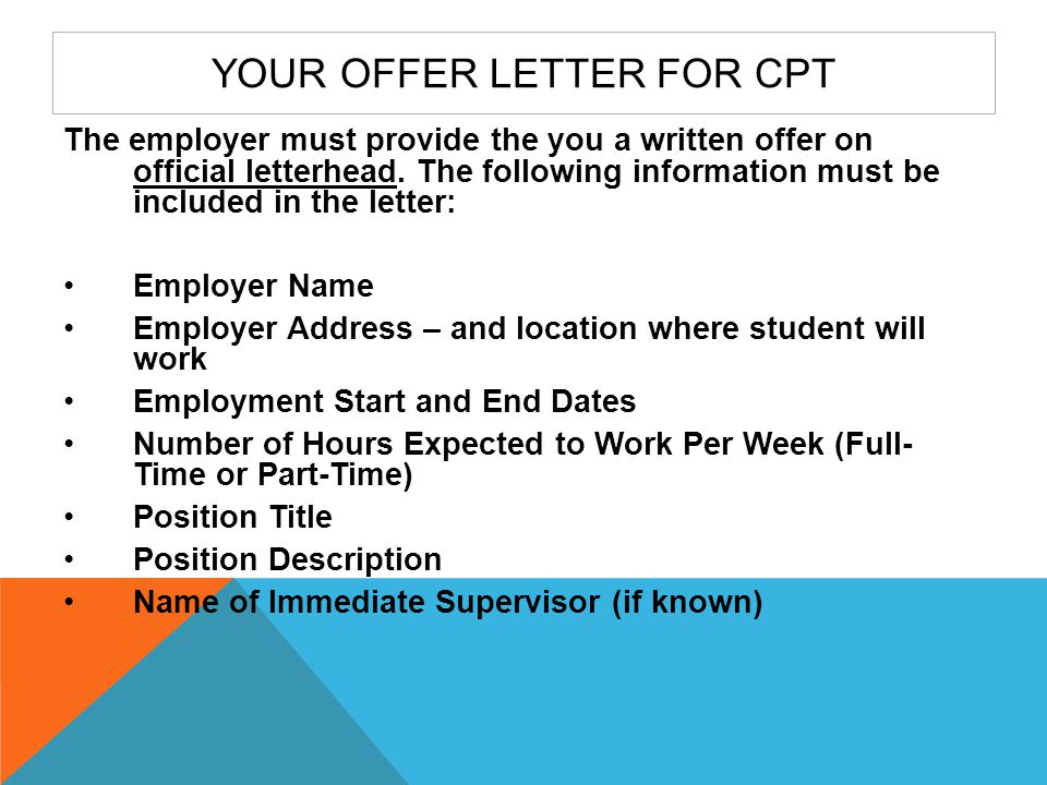 Your Offer Letter for CPT