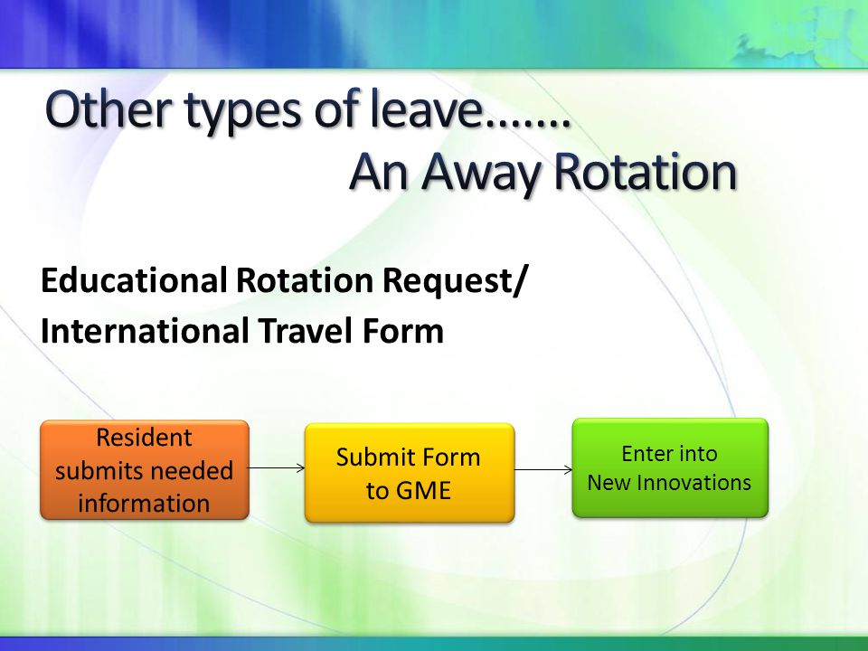 Other types of leave……. An Away Rotation